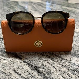 Tory Burch tortoise shell and gold sunglasses